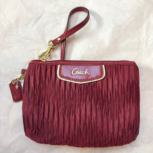 Coach Red Fabric Wristlet